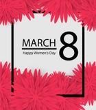 8 mars le fond de vacances avec le papier a coupé des fleurs de vue Jour heureux du `s de mère Descripteur dernier cri de concept Image stock