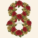 8 mars le jour des femmes internationales, chiffre de fleur Le nombre de boutons de rose et de feuilles rouges et jaunes Fleuri,  Illustration Stock