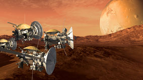 Mars like red planet with probes Stock Photography