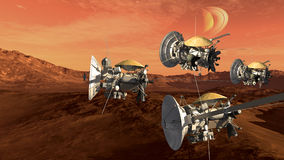 Mars like red planet with probes Royalty Free Stock Photo