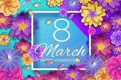 8 mars Ljusa origamiblommor Lycklig dag för kvinnor s Moderiktig dag för moder s Papper klippt exotiskt tropiskt blom- hälsningsk stock illustrationer