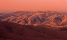 Mars looking sunset in Fuerteventura mountains. Canary Islands, Spain Royalty Free Stock Images