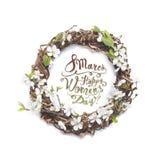 8 mars Lycklig women'sdag! Kort med blom- rame Körsbärsrött flöde Arkivfoto