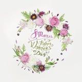 8 mars Lycklig women'sdag! Kort med den blom- ramen Royaltyfri Bild
