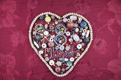 8 mars lyckliga Women& x27; kort för s-daghälsning pärlor kärnar ur silver Fotografering för Bildbyråer