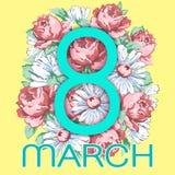 8 mars Lyckligt kort för hälsning för dag för kvinna` s, blom- baner för ferievektor Azurer 8 på en hand dragen blom- prydnad frå Arkivfoto