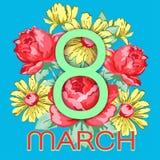 8 mars Lyckligt kort för hälsning för dag för kvinna` s, blom- baner för ferievektor Gräsplan 8 på en hand dragen blom- prydnad f Royaltyfria Bilder
