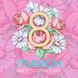 8 mars Lyckligt kort för hälsning för dag för kvinna` s, blom- baner för ferievektor Guling 8 på en hand dragen blom- prydnad frå Arkivbilder