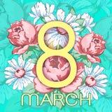 8 mars Lyckligt kort för hälsning för dag för kvinna` s, blom- baner för ferievektor Guling 8 på en hand dragen blom- prydnad frå Royaltyfri Foto