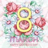 8 mars, lyckligt kort för hälsning för dag för kvinna` s, blom- baner för ferievektor Guling 8 på en hand dragen blom- prydnad fr Fotografering för Bildbyråer