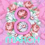 8 mars Lyckligt kort för hälsning för dag för kvinna` s, blom- baner för ferievektor Rosa färger 8 på en hand dragen blom- prydna Arkivbilder