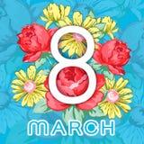 8 mars Lyckligt kort för hälsning för dag för kvinna` s, blom- baner för ferievektor Vit 8 på en hand dragen blom- prydnad från Royaltyfri Foto