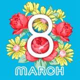 8 mars Lyckligt kort för hälsning för dag för kvinna` s, blom- baner för ferievektor Vit 8 på en hand dragen blom- prydnad från b Royaltyfri Foto