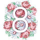 8 mars, lyckligt kort för hälsning för dag för kvinna` s, blom- baner för ferievektor Vit 8 på en hand dragen blom- prydnad från  Arkivfoto