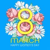 8 mars, lyckligt kort för hälsning för dag för kvinna` s, blom- baner, ferievektorbakgrund Guling 8 på ett hand dragit blom- Royaltyfria Bilder