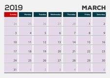 Mars 2019 Mall för kalenderstadsplaneraredesign stock illustrationer