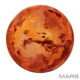 Mars. Mars watercolor background. Planet Mars illustration Royalty Free Stock Photo