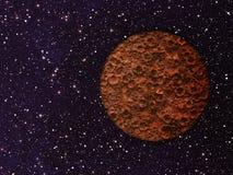 Mars met kraters op ruimteachtergronden Stock Foto's