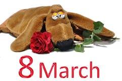 8 mars och hund Royaltyfri Bild