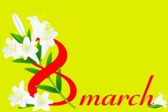 8 mars och vit lilja Royaltyfria Bilder