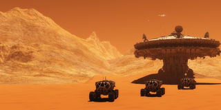 Mars Outpost. A spacecraft takes off from Mars to return to Earth as all-terrain vehicles embark on an exploratory mission Royalty Free Stock Photo