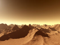 Mars - Over the Mountains. 3d rendered, fictional Mars-like landscape: fly over the Mountains vector illustration