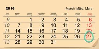 27 mars 2016 Pâques catholique Calendrier d'oeuf de pâques Image libre de droits