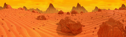 Mars panorama. Sand and rocky surface of planet Mars.3d illustration Stock Photos