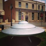 Mars Pennsylvania space ship flying saucer. Mars bank America American small town beautiful day Stock Image