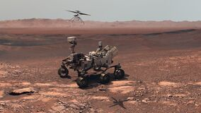 Mars. Perseverance rover and Ingenuity helicopter explore Mars against the backdrop of a real Martian landscape
