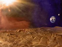 Mars planet landscape. Dust storm on Mars. Earth and Moon on horizon royalty free stock photography