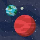 Mars planet of milky way. Mars and earth in the space vector illustration graphic design Royalty Free Stock Photo
