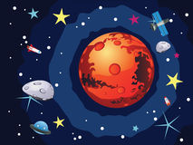 Mars Planet. Red planet Mars in the space with stars and shuttles Royalty Free Stock Images