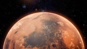 Mars planet sunset sunrise in the space 4k animation
