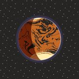 Mars - red globe terrestrial exo planet on dark space stars background. Futuristic cartoon scenery. Vector space illustration. In comics style. Mars Royalty Free Stock Images