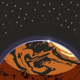 Mars - red globe terrestrial exo planet on dark space stars background. Futuristic cartoon scenery. Vector space illustration in. Comics style. Mars Stock Photo