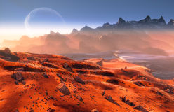 Mars. Red Martian landscape and Phobos moon over the mountains.  Mist and rocks Royalty Free Stock Images