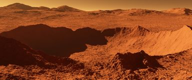 Mars - red planet - landscape with huge crater from impact and m Royalty Free Stock Photo