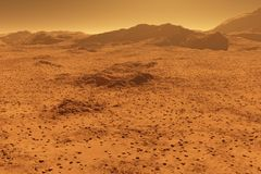 Mars - red planet - landscape with mountains in the distance Royalty Free Stock Images