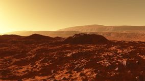 Mars - the red planet - landscape with mountains with sedimentary rock layers during sunrise or sunset