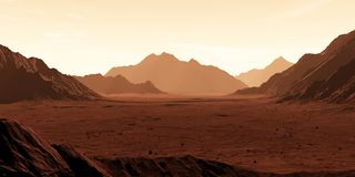 Mars - the red planet. Martian landscape and dust in the atmosphere. Stock Photo