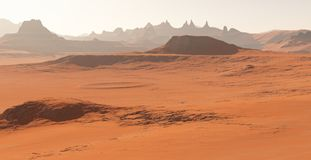 Mars - the red planet. Martian landscape and dust in the atmosphere. 3D illustration stock illustration