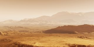 Mars - the red planet. Martian landscape and dust in the atmosphere. Stock Photography