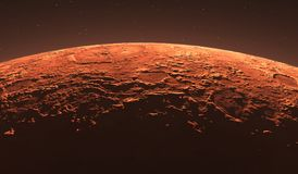 Mars - the red planet. Martian surface and dust in the atmosphere. Royalty Free Stock Photo