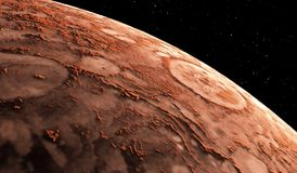 Mars - the red planet. Martian surface and dust in the atmosphere. 3D illustration Stock Image