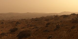 Mars the red planet surface, hills with rocks royalty free stock image