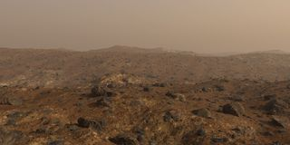 Mars, the red planet surface landscape royalty free stock image