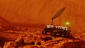 Mars robotic rover on red place surface searching for signal