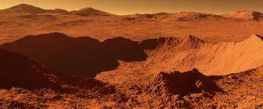 Mars - roter Planet - Landschaft mit enormem Krater von der Auswirkung und von m vektor abbildung