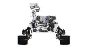 Mars Rover, automated space motor vehicle  on white background, front view, 3D illustration Royalty Free Stock Photography